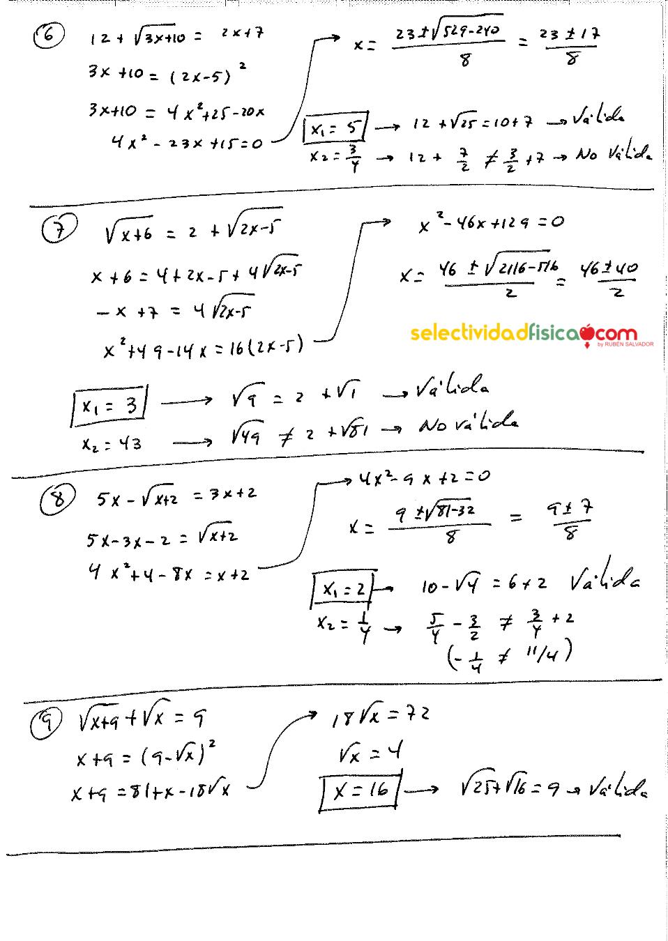 Ecuaciones irracionales . Matemáticas de 1º de bachillerato