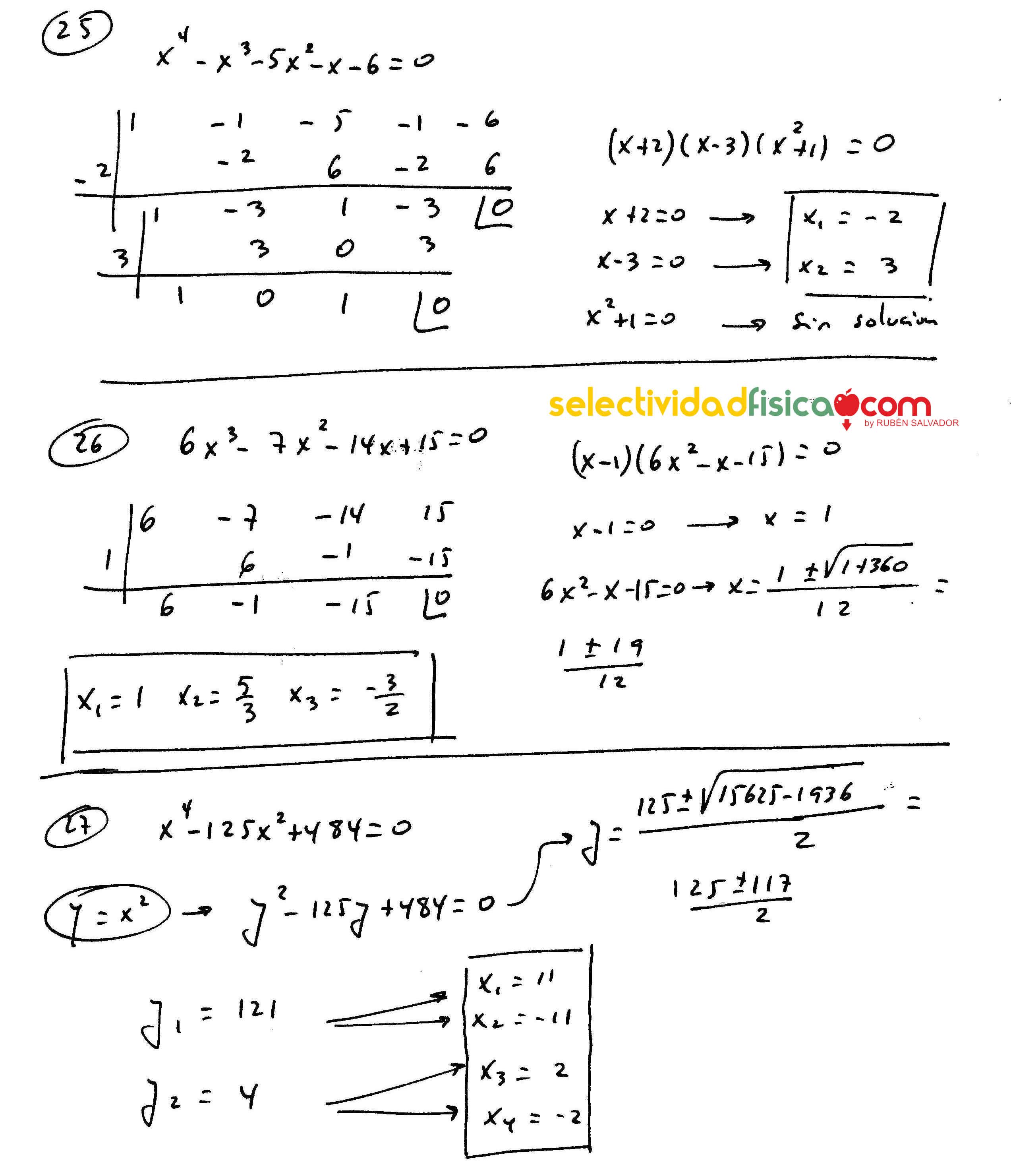 Ejercicios resueltos de ecuaciones polinómicas de matemáticas de primero de bachillerato.