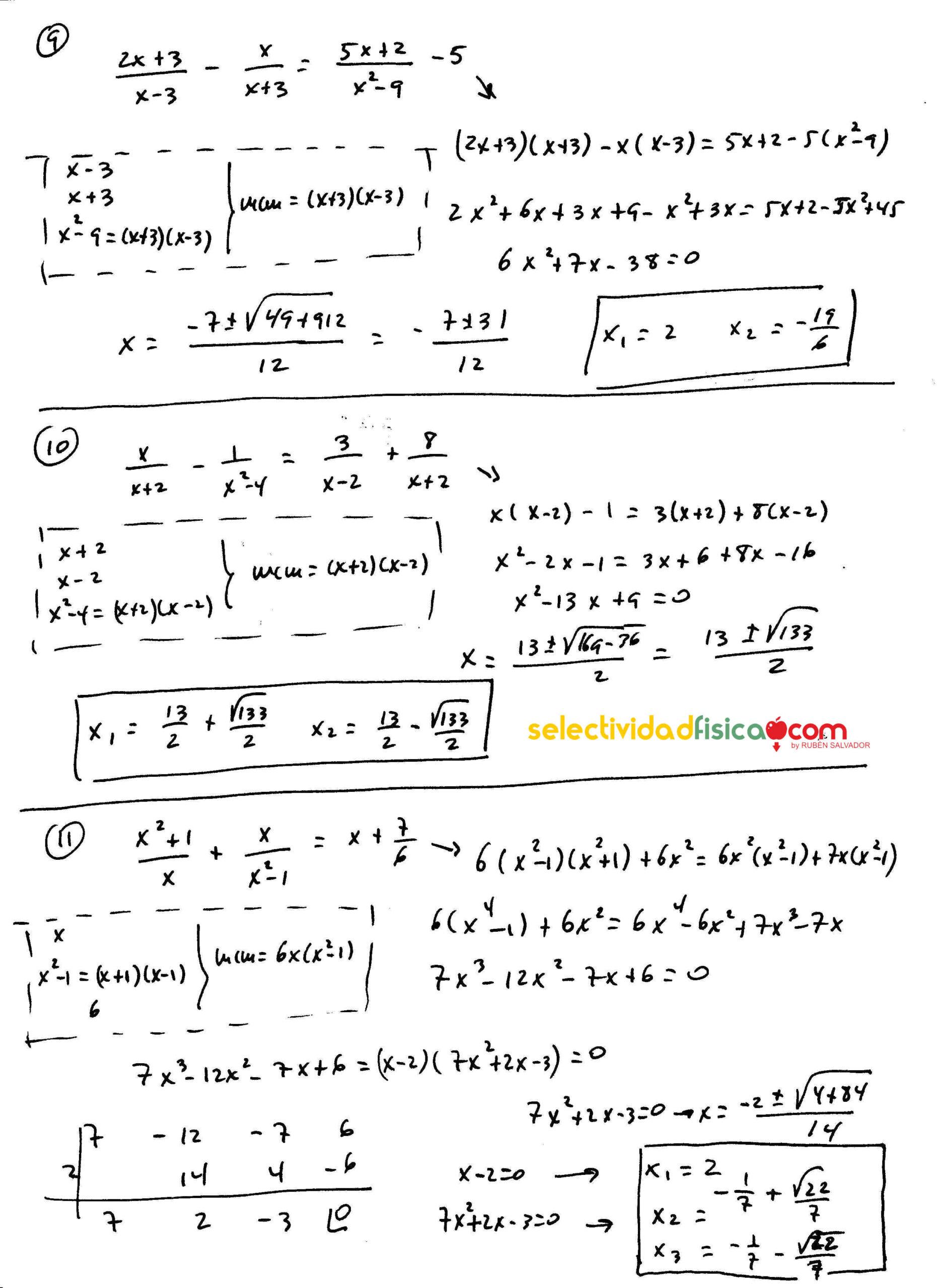 Ecuaciones racionales resueltas de matemáticas de primero de bachillerato