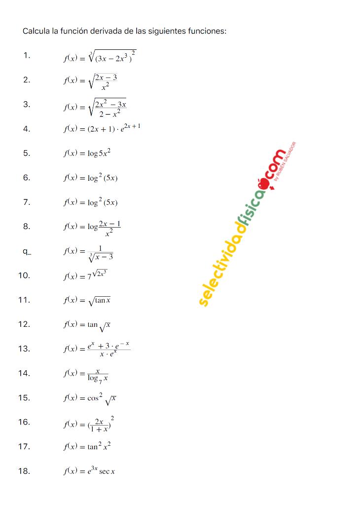 Relación de derivadas 1º de Bachillerato