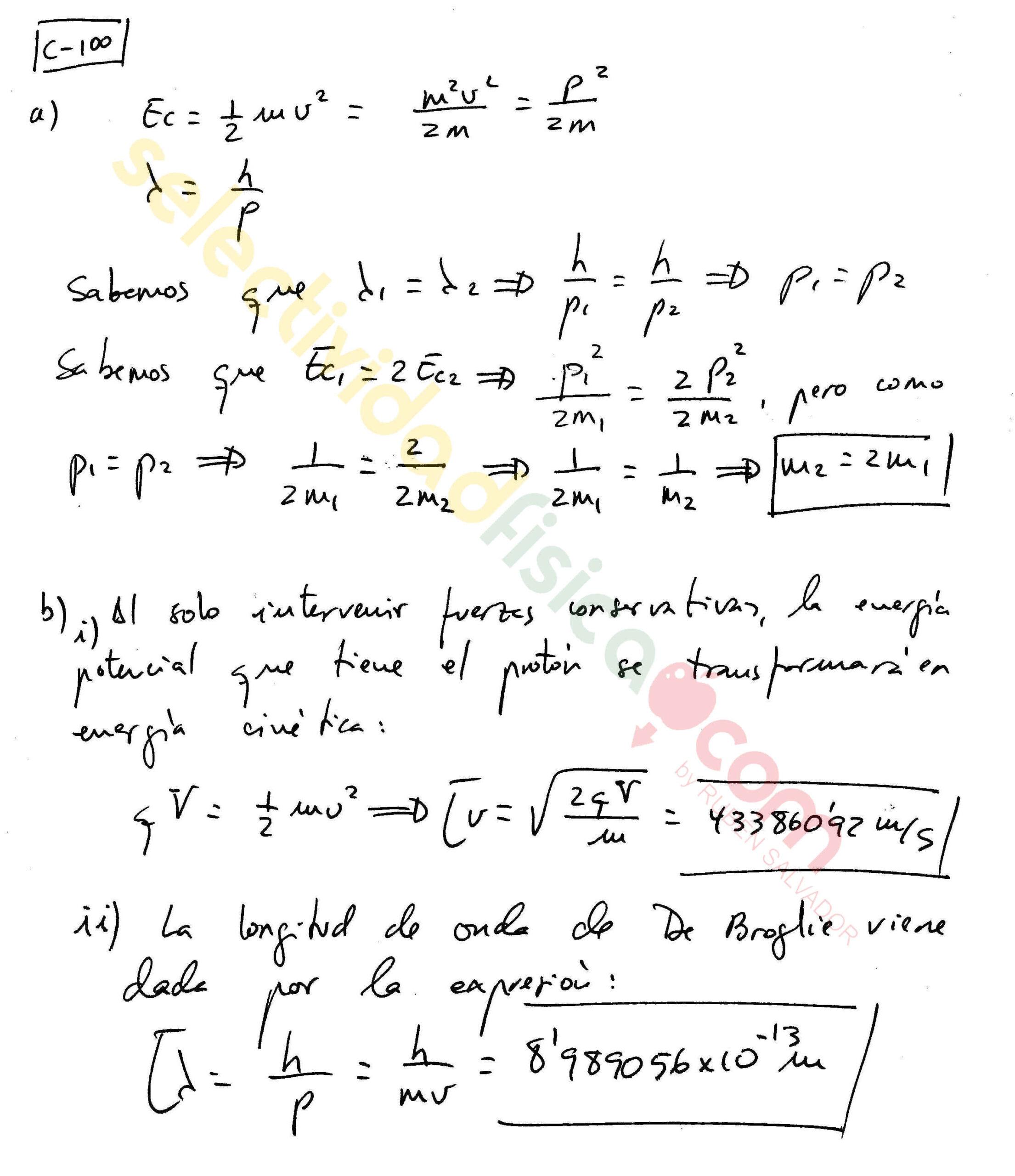 Ejercicio resuelto selectividad física Cuántica c-100