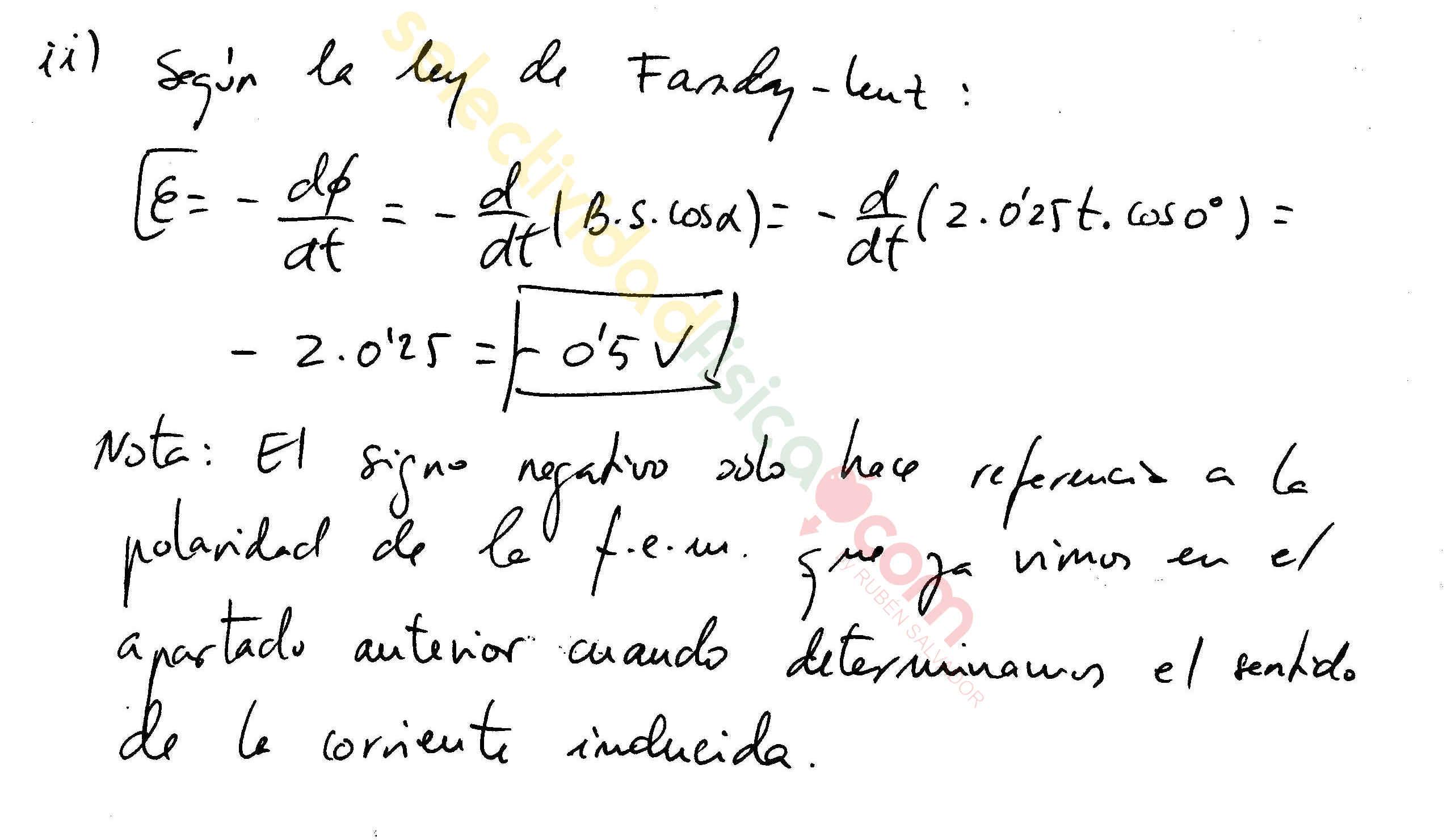 Ejercicio resuelto selectividad física electromagnetismo-Em-154