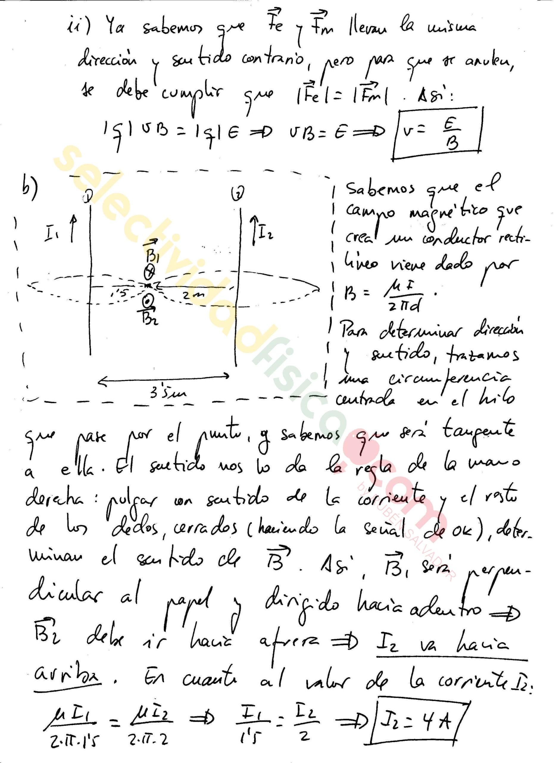 Ejercicio resuelto selectividad física electromagnetismo-Em-155