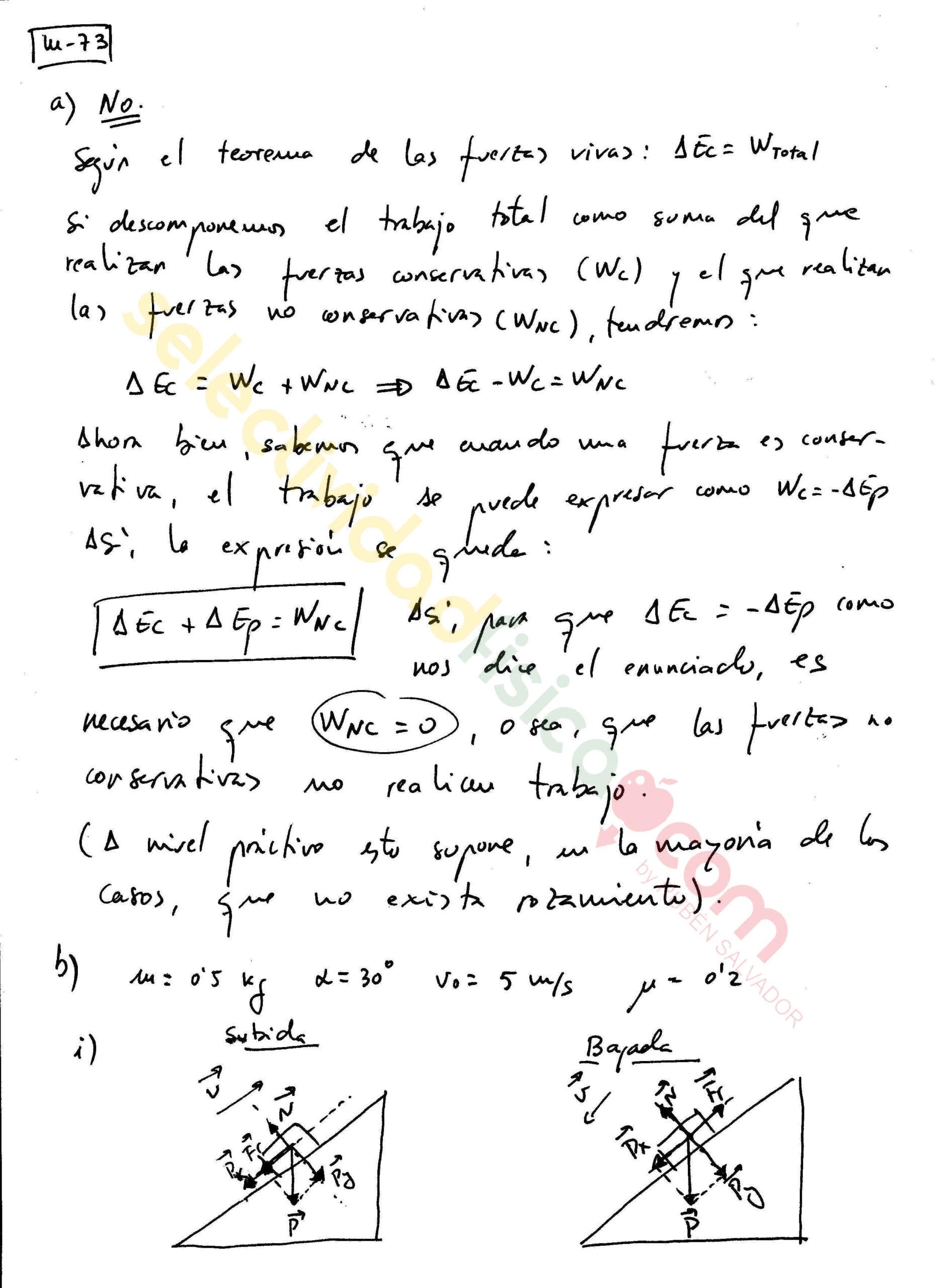 Ejercicio resuelto selectividad física Mecánica-M-73