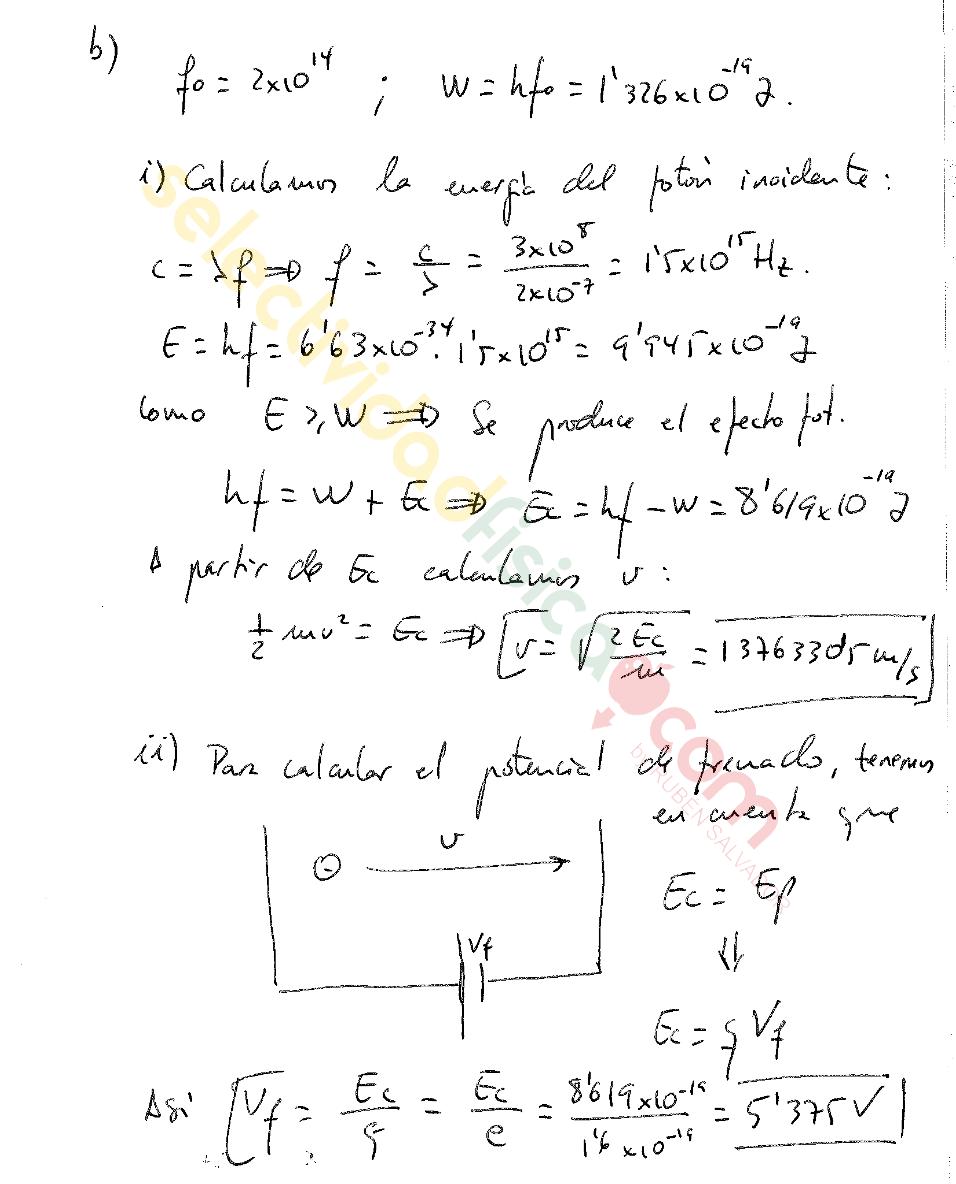 Ejercicio resuelto selectividad física Cuántica c-101