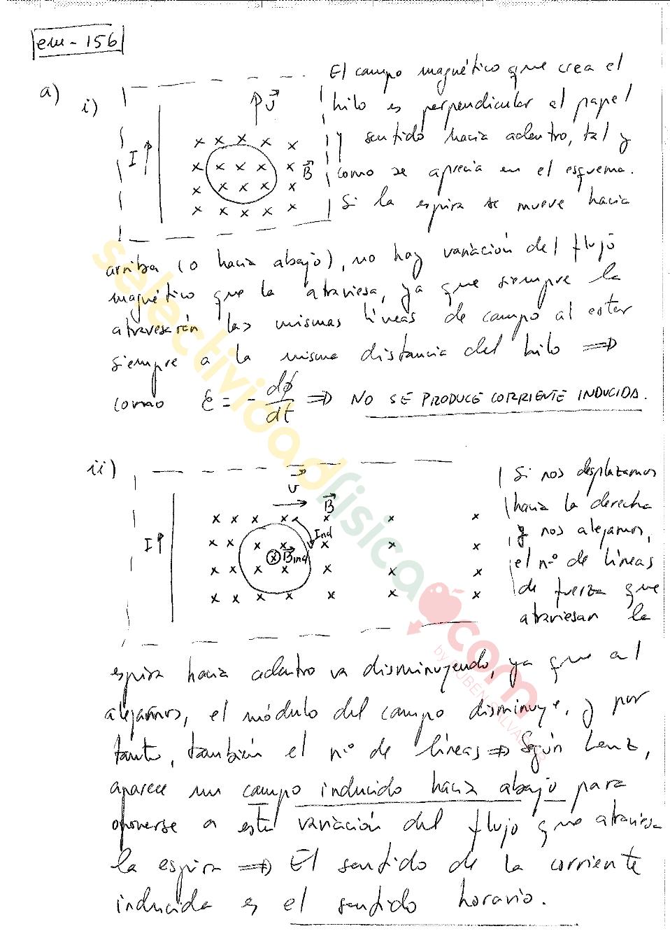 Ejercicio resuelto selectividad física electromagnetismo-Em-156
