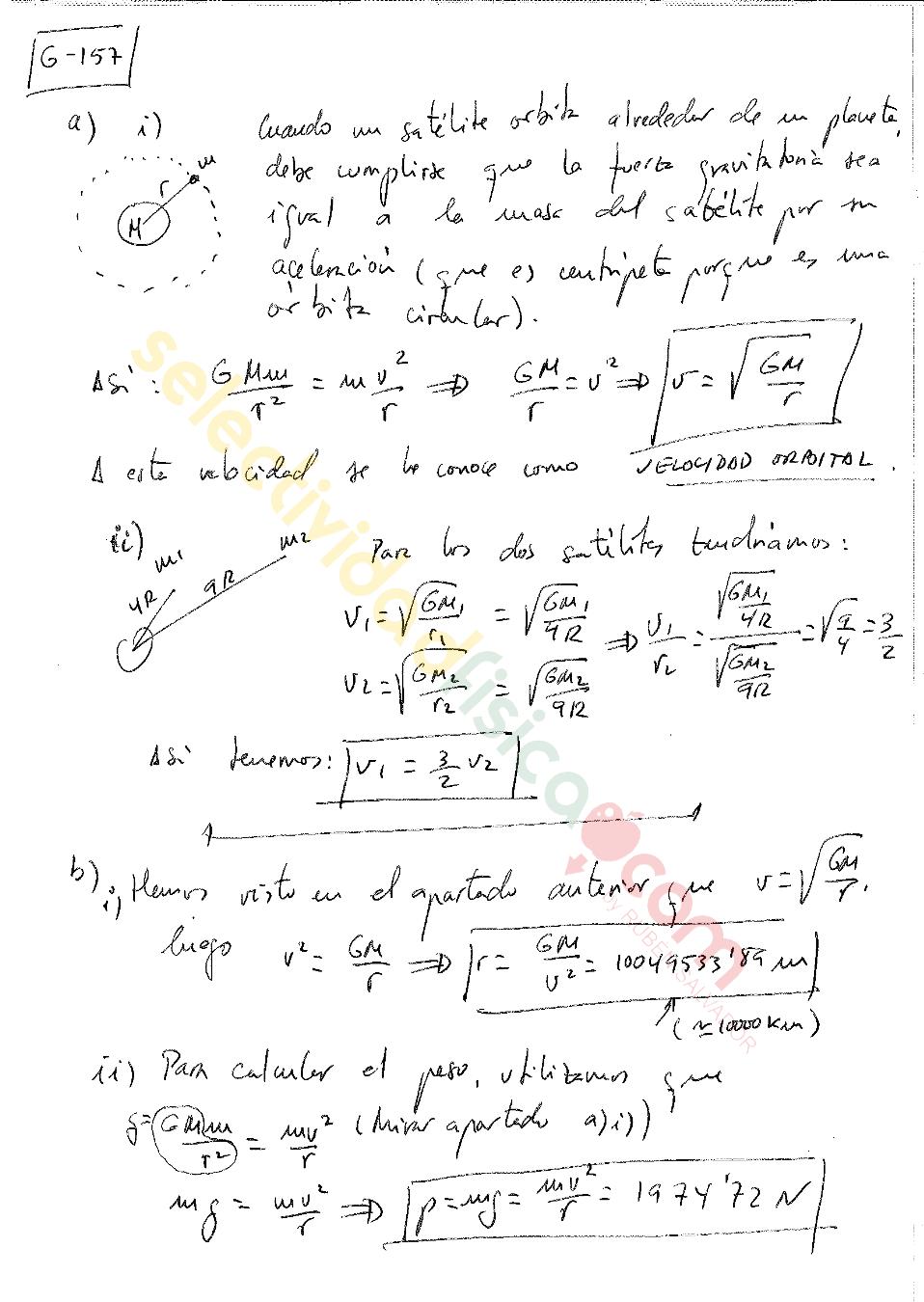 Ejercicio resuelto selectividad física Campo Gravitatorio-G-157