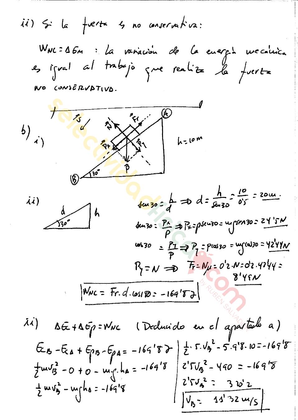 Ejercicio resuelto selectividad física Mecánica-M-74